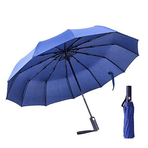 Regenschirm VIEKUU Taschenschirm Sturmfest 210T Umbrella mit 12 Edelstahl Rippen Auf-Zu Automatik wasserabweisend Klein kompakt windsicher Teflon-Beschichtung, Blau