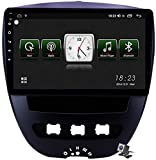 Android 10 Estéreo Coche Radio Multimedia GPS Navegación para Peugeot 107 Toyota AYGO 2005-2014, Soporta DSP FM RDS/Carplay Android Auto/BT System/Mirror Link/Steering Wheel