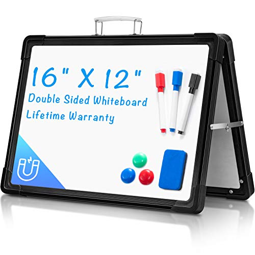 """Small Dry Erase White Board, ARCOBIS 12""""X16"""" Portable Magnetic White Board Double-Sided Desktop Foldable Whiteboard Easel for Classroom Home Office, Black"""
