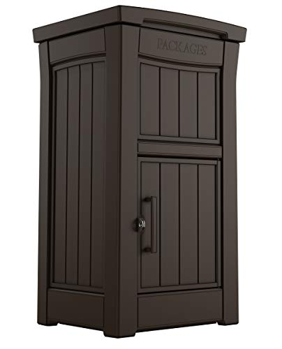 KETER Delivery Box for Porch with Lockable Secure Storage Compartment to Keep Packages Safe, One Size, Brown
