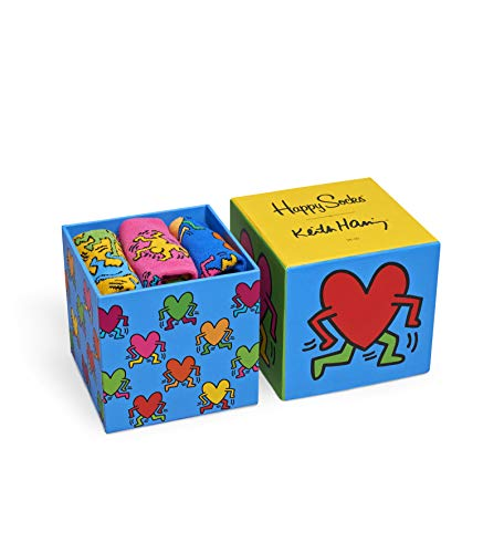 Happy Socks Damen Keith Haring Sock Box Set Freizeitsocken, Rot (Rot 4000), One Size (Herstellergröße: 36-40) (3er Pack)