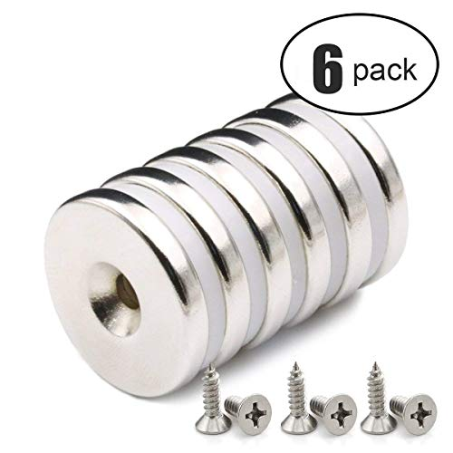6 PACK Neodym Disc Senkerodiermagnete, 32 x 5 mm, 12 kg Zugkraft, Stark, Permanent, Rare Earth Magnete mit 6 Schrauben für Handwerk