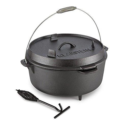 Klarstein Hotrod 145 - Dutch Oven, Gusstopf, BBQ-Topf, Volumen: 12 qt / 11,4 Liter, Kochen, Braten oder Backen, im offenen Feuer, auf dem Rost oder am Schwenkgrill, eingebrannt, schwarz