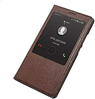 Huawei Mate 8 Cover & Case, Flip Smart View Leather Stand Case Protective Sleeve, Brown