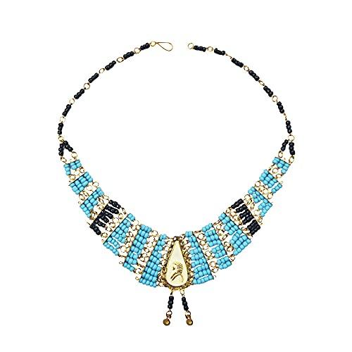 Collar egipcio replica de la joyería del Antiguo Egipto. Collar hecho a mano en Egipto. Vidrio y latón