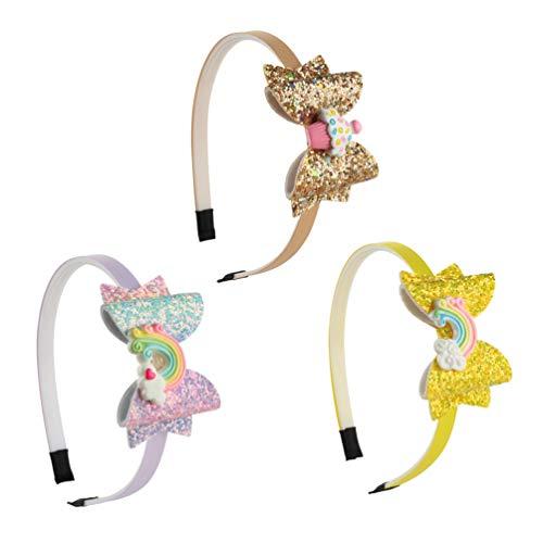 Minkissy cerchietti per capelli con fiocchi di paillettes glitter cerchi per capelli con arcobaleni arco nodo denti fasce per capelli in plastica per