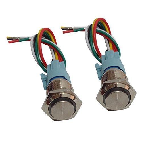 D DOLITY 2Pcs 16mm Bouton-poussoir étanche Interrupteur Métal Maintenu Interrupteur Avec LED Lumière IP65 Rouge Et Vert