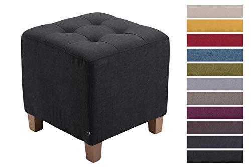 CLP Sitzhocker Pharao mit Stoffbezug I Sitzwürfel mit hochwertiger Polsterung und Bodenschonern, Farbe:schwarz