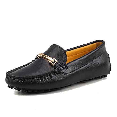 AUSLAND Women's Leather Slip On Loafers Flat Driving Moccasins, Black, 9.5 US/40 EUR