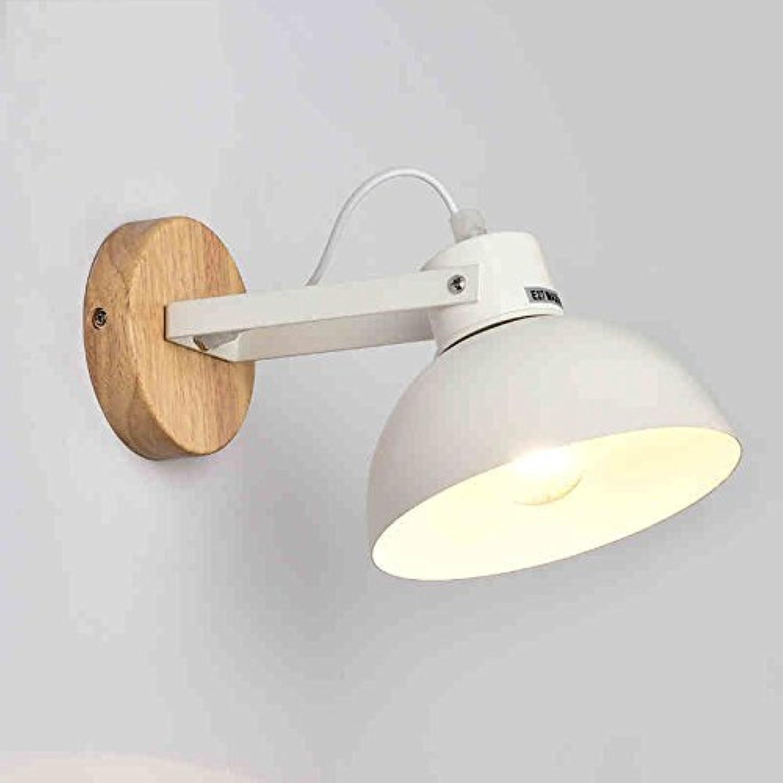 ZHANG NAN ●   Nordeuropa LED-Leuchten Creative Hotel Gang Balkon Modernes minimalistisches Schlafzimmer Nachttischlampe Holz Wohnzimmer Nachttischlampe (Farbe  Wei) ●