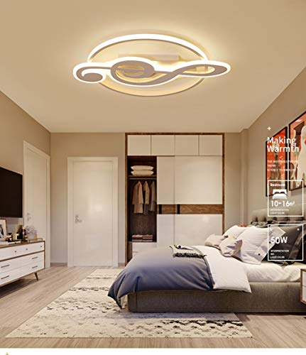 Lámpara LED moderna Lámpara de techo de acrílico'Nota musical' Diseño Lámpara de techo Lámpara de interior Lámpara creativa para niños para habitación de niños 56W Ø62cm Luz cálida 3000K, Blanco