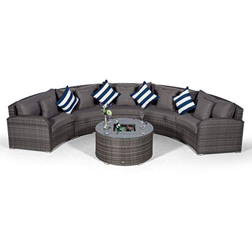 Giardino Riviera 5 Seat Grey Poly Rattan Garden Furniture Set with Drinks Ice Bucket Coffee Table & Outdoor Furniture Covers | 6 piece Curved Rattan Sofa Set | Rattan Patio Conservatory Furniture