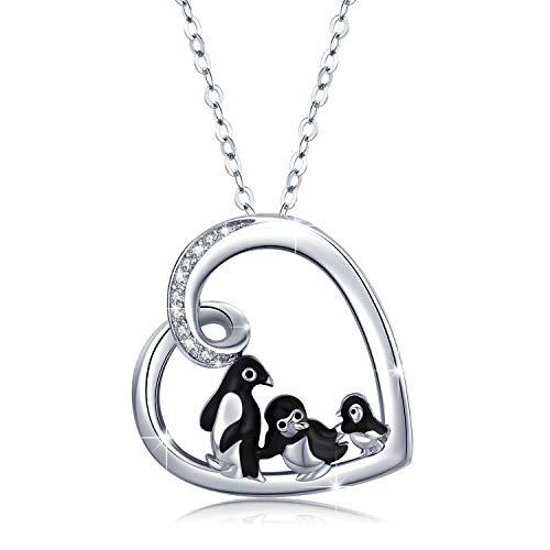 Pinguin Kette 925 Sterling Silber Anhänger Halskette Familie Pinguin Schmuck Geschenke für Mutter …