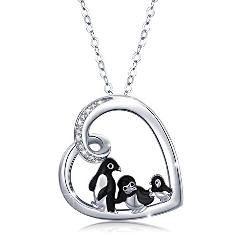 Penguin Necklace Sterling Silver Heart Pendant Necklaces Lucky Cute Animal Jewellery Penguin Gifts for Women Girls