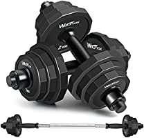 KISS GOLD wolfyok 44Lbs Dumbbells Set, Adjustable Weights Solid Steel Dumbbells Pair for Adults Home Fitness Equipment...
