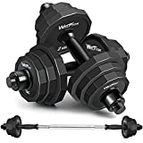 KISS GOLD wolfyok 44Lbs Dumbbells Set, 2 in 1 Adjustable Weights Solid Steel Dumbbells Pair for Adults Home Fitness Equipment Gym Workout Strength Training with Connecting Rod Used as Barbell