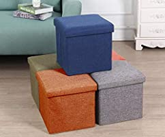 ALMAND Living Foldable Storage Bins Box Ottoman Bench Container Organizer with Cushion Seat Lid, Cube,Multi...