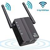 YWSS Extensor de Red WiFi,Repetidor de señal WiFi,Amplificador WiFi (hasta 300Mbps),Punto de Acceso Easy Set-Up 2 Antenas externas Y 2 Puertos Ethernet y diseño Compacto Internet Booster Black