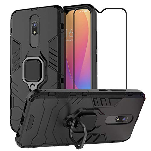EasyLifeGo for Xiaomi Redmi 8 / Redmi 8A Case with [2 Pieces] Tempered Glass Screen Protector, Hybrid Heavy Duty Armor Dual Layer Anti-Scratch Case Cover, Black