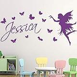 Mariposas y niñas calcomanía de pared vinilo ventana pegatinas niños niñas dormitorio guardería decoración del hogar Mural