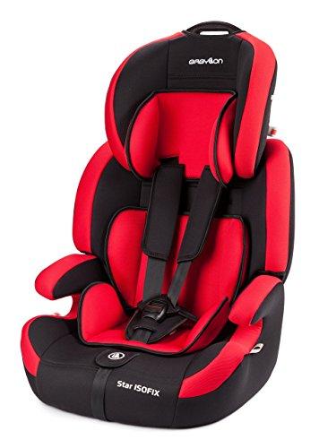 Babylon Star ISOFIX Autokindersitz Gruppe 1/2/3, 9-36kg Kindersitz mit Isofix und Top Tether 5 Punkt Sicherheitsgurt Autositz Einstellbare Kopfstütze ECE R44/04 Rot