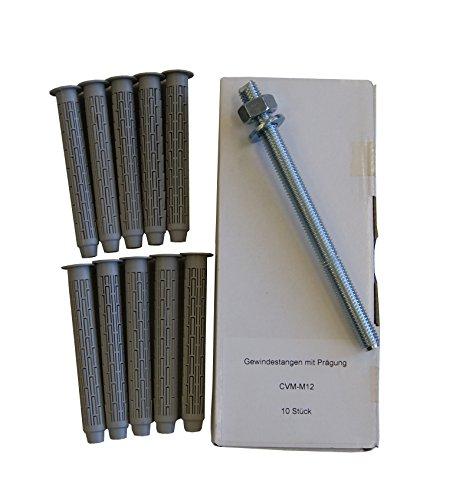 Sanremo Lot de 17-10 tiges d'ancrage M12 x 160 mm galvanisées + 10 douilles tamis 15 x 100 mm - Mortier d'injection mortier de montage