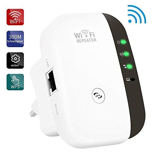 Fanlce Repetidor WiFi,Banda Dual Amplificador de WiFi Inteligente Sin Interrupción 300Mbps 2.4GHz Inalámbrico con WPS Button Puerto Fast Ethernet, WPS, Modo Ap Punto Acceso, Blanco