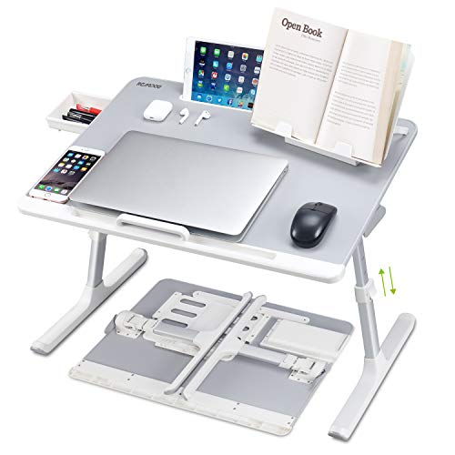 Laptop Desk for Bed, NEARPOW XXL Bed Table Bed Desk for Laptop and Writing, Adjustable Computer Tray Laptop Stand for Bed or Sofa with Anti-slip Leather, Removable Stopper, Book Stand and Drawer- Grey