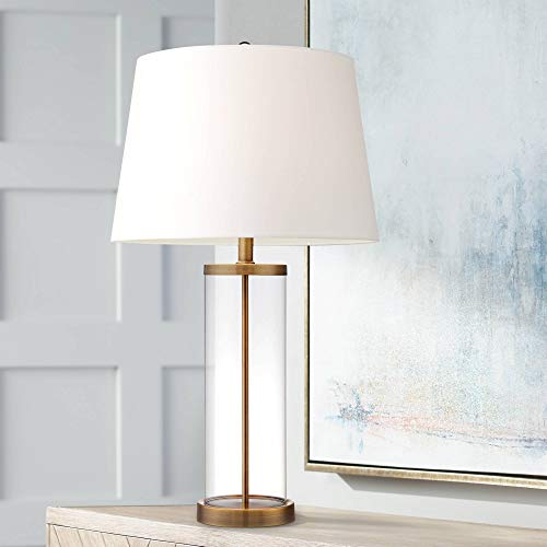 SYyshyin Lámpara de Mesa Costera Cilindro de Vidrio Pantalla de Tambor Blanca rellenable en Oro para Sala de Estar Dormitorio Familiar Mesita de Noche - Iluminación 360