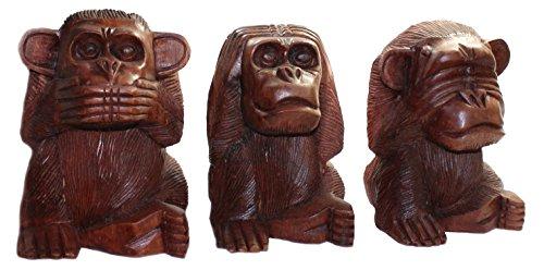 Budawi® - 3er Set Affen Nichts Hören Sehen Sagen ca. 11 cm AFFE Skulptur Figur aus Holz