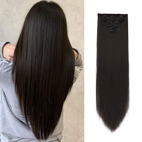 FESHFEN 7 Teile Set Clip in Extensions, 55 cm Haarverlängerung Clips Haarteil Extensions Clip in Glatt für Mädchen Straight Hair Clip Extensions, Mittelbraun