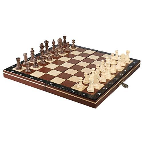 Pank Ajedrez de Madera, Lujoso Juego de ajedrez Plegable Exquisito, 10.6 Pulgadas, para Adultos niños, Franela Interior, Principiantes, Viajes, Regalos (Color : Natural, tamaño : Medium)
