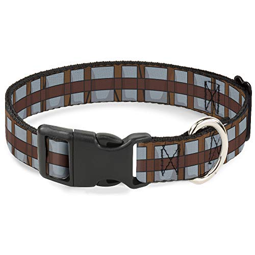Dog Collar Plastic Clip Star Wars Chewbacca Bandolier Bounding Browns Gray 15 to 26 Inches 1.0 Inch Wide