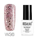 ROSALIND-Esmalte semipermanente de uñas de gel con purpurina de diamante, pintura de color súper...