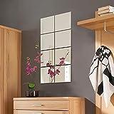 Kasahome 4 espejos de pared adhesivos de espejo de cristal adhesivo cuadrado cubo decoración decoración casa recibida sala de estar pub oficina decoración de pared 15 x 15 x 2 cm