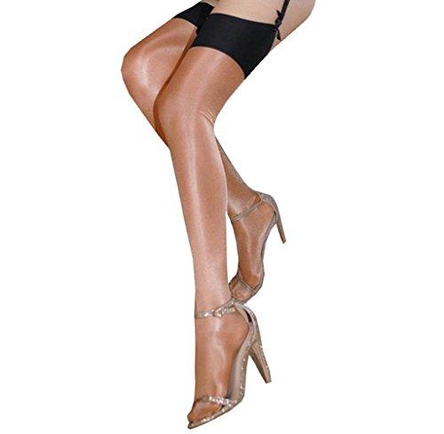 EROSPA® Glänzende halterlose Strümpfe Stockings Damen festlich Perlmutt 3 verschiedene Farben (Braun)