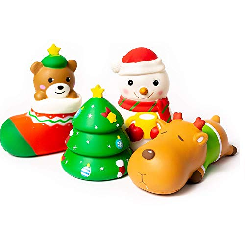 SYYISA Christmas Squishies Slow Rising Christmas Santa Jumbo SQUISHIES Pack: Gift Bag Includes Snowman, Stocking, Christmas Trees, and Festive Reindeer Kawaii Soft Squishy Toys - Super Gift! 4 Pack