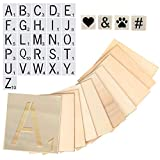 Large Scrabble Tiles & Stencil Set – 26 Letter Stencils, 4 Symbol Stencils & 36 Wood Squares for Coasters, Wall Art, Banners – Adult Crafts Kit & DIY Home Decor for Living Room by CADE + KAI, 4x4 in.