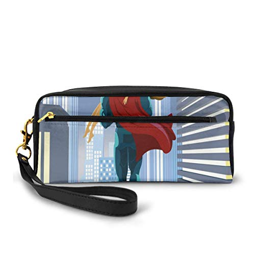 Pencil Case Pen Bag Pouch Stationary,Romance Man Super Powers Rescues His Beloved Flying in Skyscrapers Love Design,Small Makeup Bag Coin Purse
