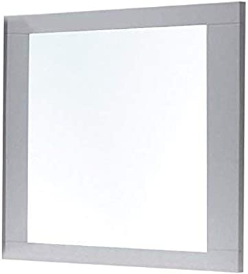 Benjara Rectangular Wooden Frame Mirror with Beveled Edges, White and Silver