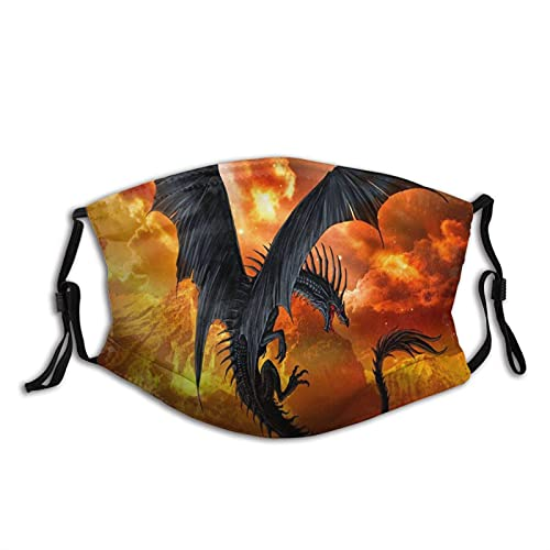 WXM Fantasy Dragon - Pasamontañas reutilizable lavable antipolvo, máscara facial con 2 filtros transpirables para exteriores