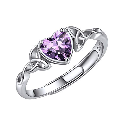 ChicSilver Celtic Knot Heart Rings for Women 925 Sterling Silver Purple Amethyst February Birthstone Eternity Wedding Band Adjustable Size