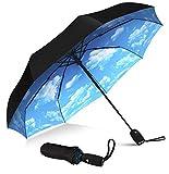 Repel Umbrella Windproof Travel Umbrella with Teflon Coating (Blue Sky)