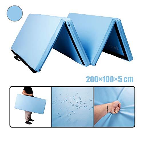 Tapis Sol Gymnastique CCLIFE 200x100x5cm Bleu Tapis de Gymnastique Epais Matelas Gymnastique Tapis Gymnastique Pliable