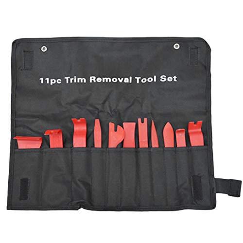 11pcs / set strumenti di rimozione rimozione leva autoradio kit di riparazione audio porta dash trim clip leva installatore stereo pannello con sacchetto di stoffa - rosso