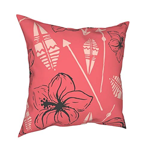 ZVEZVI Patrón Universal Colorido Verano Hawaiano Flow Throw Pillow Case Funda de cojín Moderna Funda de Almohada Cuadrada Decoración para sofá Cama Silla Coche 18 x 18 Pulgadas