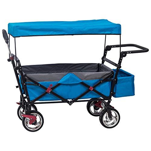 Laneetal Faltbar Handwagen Klappbar Bollerwagen Transportwagen Kinder Wagen mit Dach Sonnenschutz für Garten Camping Einkaufen Türkis