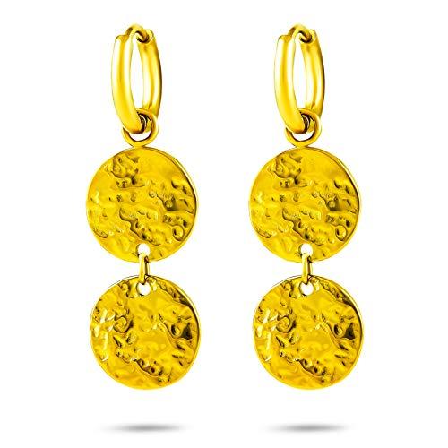 TheGlamFactory Pendientes chapados en oro de 14 quilates para mujer, de acero inoxidable 316L, pendientes colgantes de placa, hipoalergénicos, en caja de regalo danesa con impresión de oro