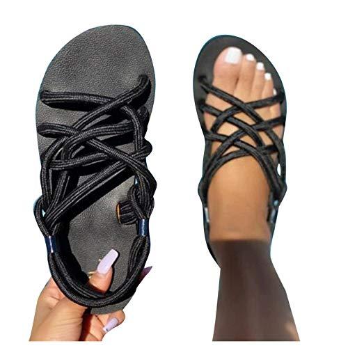 Sandales d'été décontractées pour femme - Sandales plates - Grandes tailles - Sandales de plage - Plateforme - Chaussures d'été antidérapantes