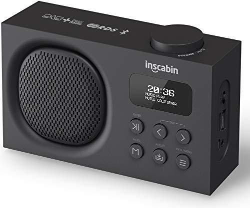 Inscabin P2/P9 Tragbarer DAB/DAB + FM-Digitalradio/Tragbarer drahtloser Lautsprecher mit Bluetooth/Stereo-Sound/Schönes Design/Doppelwecker/Akku (Schwarz)